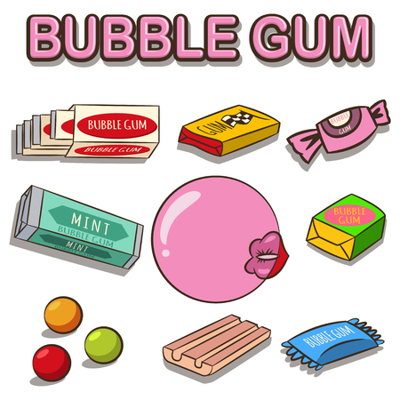 Bubble gum vector cartoon set isolated on white background. Woman lips with gum. Vettoriali