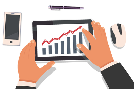Businessman hands holding a tablet and working with a graph of market analysis statistics. Top view vector flat illustration of a workplace with gadgets.
