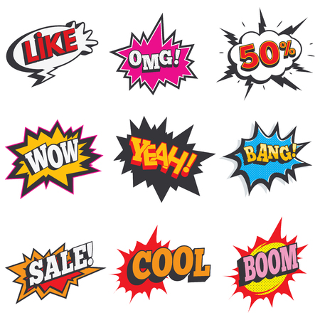 Comic sound effect set. Bubble speech, label for sale discount. Retro comical book cartoon expression with text