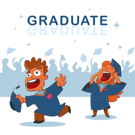 Graduate Cap In The Air Vector Cartoon Illustration Of Hats