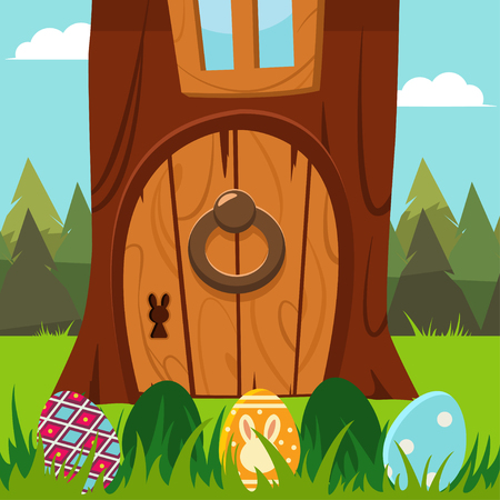 Easter bunny door in a tree with eggs in the grass Vector cartoon holiday illustration.