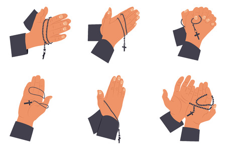 Praying hands with holy rosary beads set. Vector flat illustration isolated on a white background.
