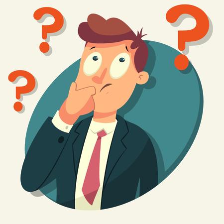 Myślący charakter człowieka biznesu. Ilustracja kreskówka wektor mężczyzny ze znakiem zapytania na białym tle.
