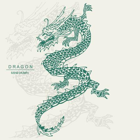 Chinese Dragon Tattoo. Hand draw vector illustration. 일러스트