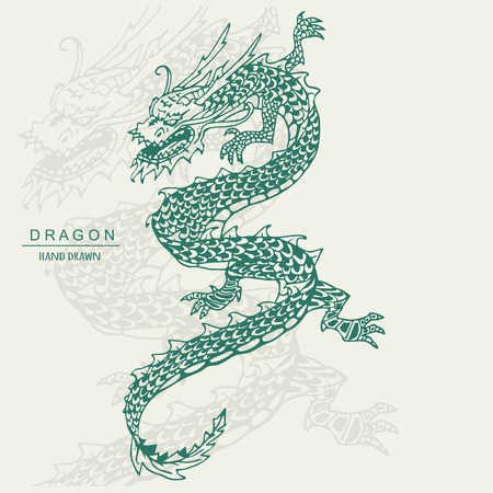 Chinese Dragon Tattoo. Hand draw vector illustration. Çizim