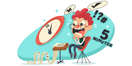 Student experiencing exam stress vector illustration Vettoriali