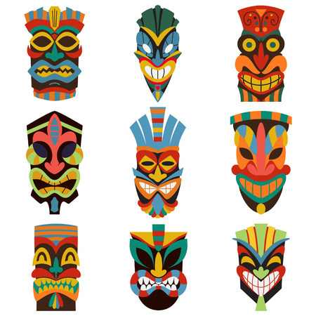 Tribal mask set vector illustration