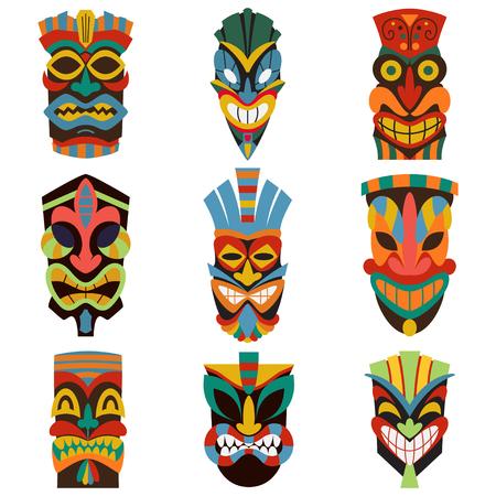 Tribal mask set vector illustration