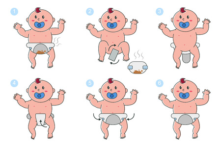 Stages of changing diapers in newborn baby vector cartoon infographics. Cute child in a dirty and clean diaper with a pacifier in his mouth isolated on a white background.