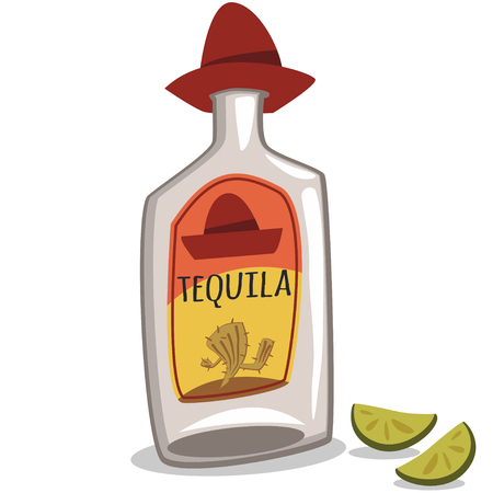 Tequila bottle in a sombrero and two pieces of lime vector cartoon illustration isolated on white background. 일러스트