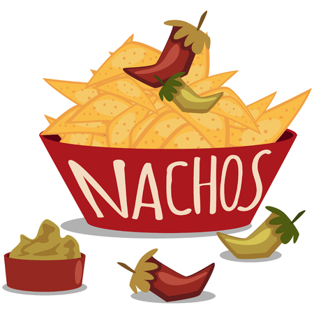 Nachos with guacamole sauce and chili pepper. Mexican traditional food. Plate of tortilla chips. Vector cartoon illustration isolated on white background.