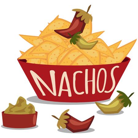 Nachos mit Guacamole-Sauce und Chili. Mexikanisches traditionelles Essen. Teller mit Tortillachips. Vektorkarikaturillustration lokalisiert auf weißem Hintergrund.