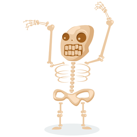 Skeleton cartoon vector illustration isolated on white background.