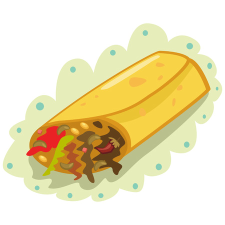 Burrito icon. Mexican traditional food. Tortilla is wrapped around meat and vegetables. Vector cartoon illustration isolated on white background.
