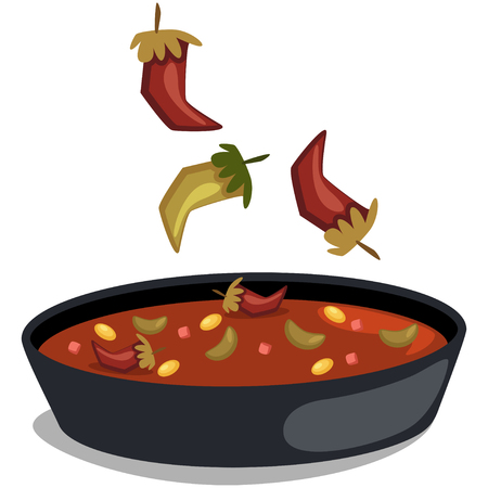 Chile con carne. Mexican traditional food. Soup with chili and beans. Vector cartoon illustration isolated on white background. Çizim
