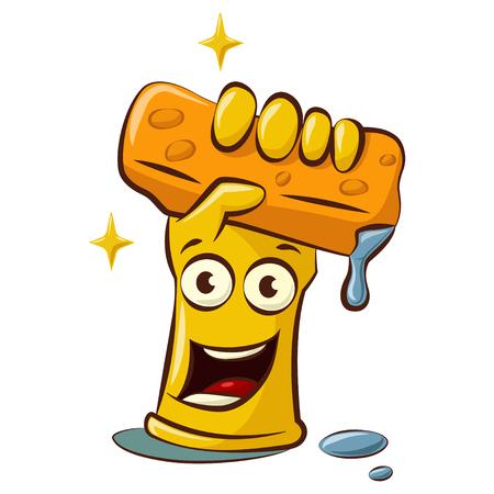 Simpatico personaggio dei cartoni animati di guanti di gomma gialli con una spugna di lavaggio. Strumenti per la pulizia in mano illustrazione isolati su sfondo bianco.