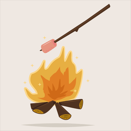 Camping icon with bonfire and grill marshmallow. Vector cartoon illustration isolated on background. Illustration