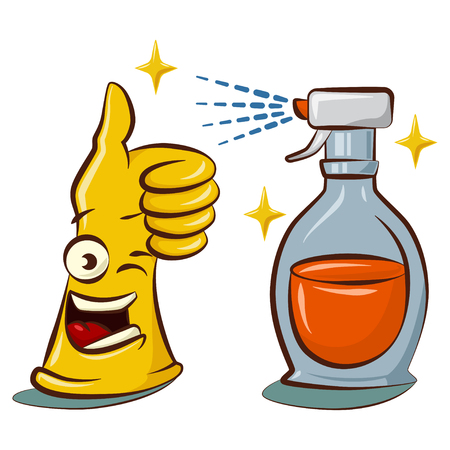 Cute yellow rubber gloves cartoon character with a cleaner spray bottle. Cleaning tools in hand illustration isolated on white background.