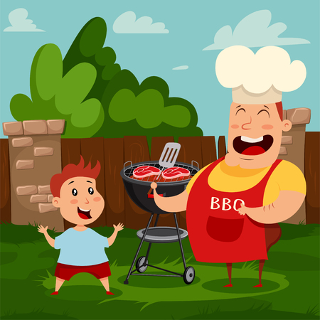 Father and son are cooking a grill steak on a barbecue in the backyard. Vector cartoon illustration of happy dad and baby spend time together.