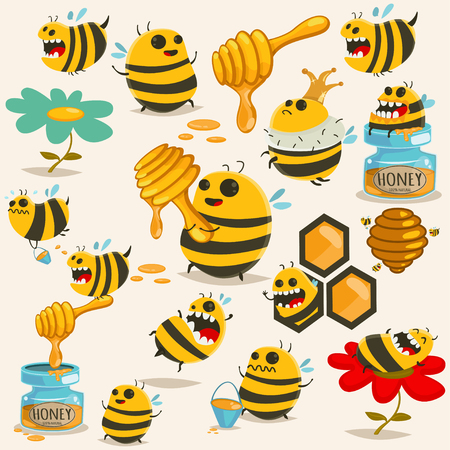 Cute bee cartoon character vector set. Illustration with the honey, beehive, stick, jar, honeycomb, etc. Illustration