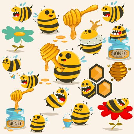 Cute bee cartoon character vector set. Illustration with the honey, beehive, stick, jar, honeycomb, etc. Illustration