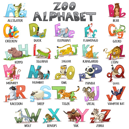 Alphabet for kids. ABC animals letters. Cartoon vector illustration for childrens books, schoolbooks and education, isolated on white background.