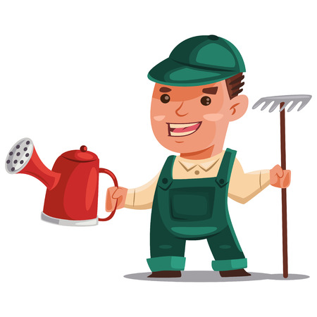 Gardener man in a green working suit with a watering can and a rake for processing of soil. Vector cartoon illustration isolated on white background.