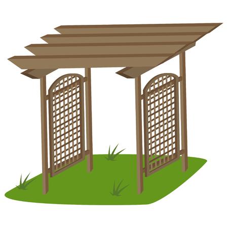 Grigliato in teak per giardino. Vector cartoon illustrazione isolato su uno sfondo bianco.