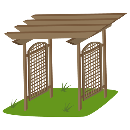 Garden trellis of teak for garden. Vector cartoon illustration isolated on a white background.