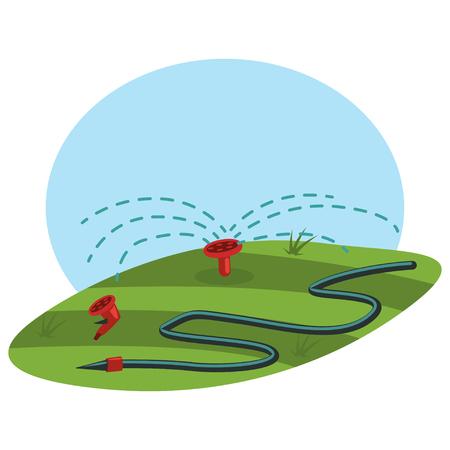 Automatische sproeiers en waterslang. Tuingereedschap en benodigdheden voor het besproeien van gazon en gras. Cartoon vectorillustratie geïsoleerd op een witte achtergrond. Vector Illustratie