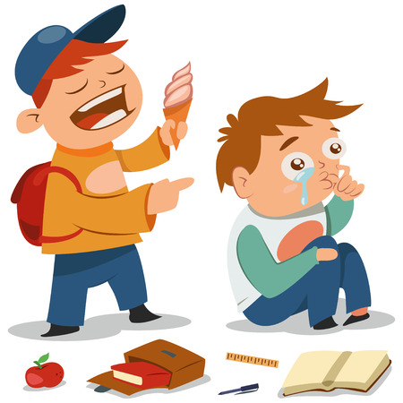 Bullying vector cartoon illustration. Teen with ice cream offends a boy who cries. Demonstration of school teenage bully and aggression towards other child.