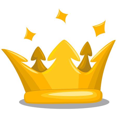 Gold king crown. Cartoon vector icon of royal attribute isolated on white background. Illustration