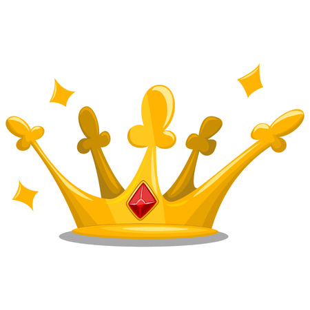 Gold prince crown with red jewelry gemstones. Cartoon vector icon of royal attribute isolated on white background.