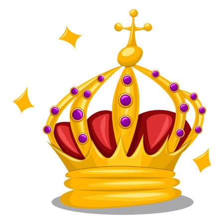 Traditional gold queen crown with purple jewelry gemstones and a cross on top. Cartoon vector icon of royal attribute isolated on white background. Illustration