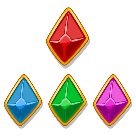 Jewelry stones in a gold frame of red, blue, green and purple color in the form of a diamond. Vector elements for mobile game and web design isolated on white background. Cartoon icons. Vettoriali