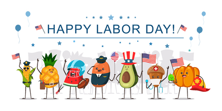 Happy Labor Day concept illustration with funny fruits and vegetables workers with American flags. Cartoon cute food characters of different occupations. Illustration