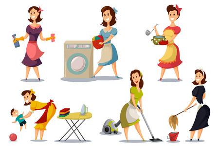 Casalinghe in un set vettoriale vintage stile retrò anni '50. Cartoon illustrazione di una madre con un aspirapolvere, stirare, lavare, cucinare, giocare con un bambino. Il personaggio della donna fa i lavori domestici.
