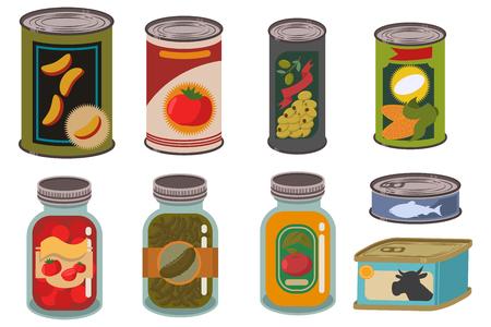 Alimentos enlatados en lata de metal y frasco de vidrio conjunto de vectores. Verduras, frutas, jugos, sopas, carnes y pescados enlatados. Ilustración de dibujos animados de paquetes con etiquetas aisladas sobre fondo blanco. Ilustración de vector