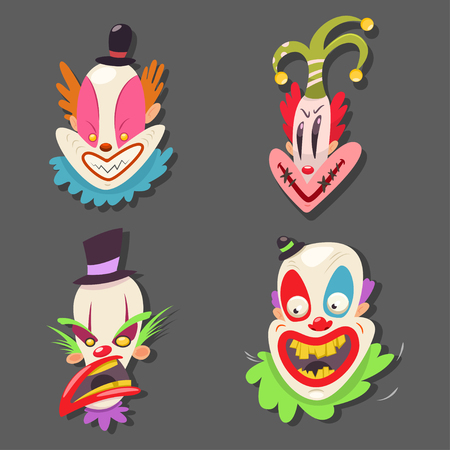 Scary clown face set. Vector cartoon illustration of circus performers with evil emotions isolated on background. Illustration