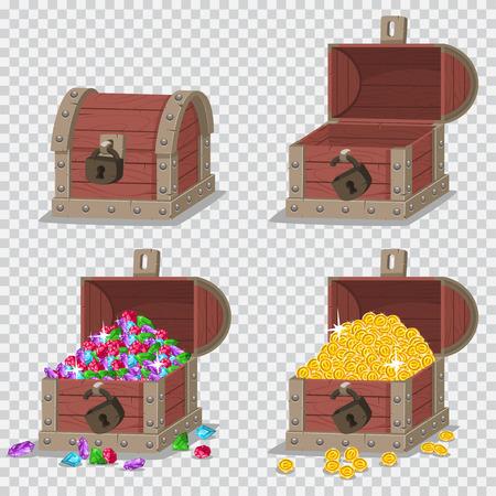 Houten piratenkist met schatten, gouden munten en edelstenen, leeg open en gesloten met een slot. Vector cartoon set spel iconen geïsoleerd op transparante achtergrond.