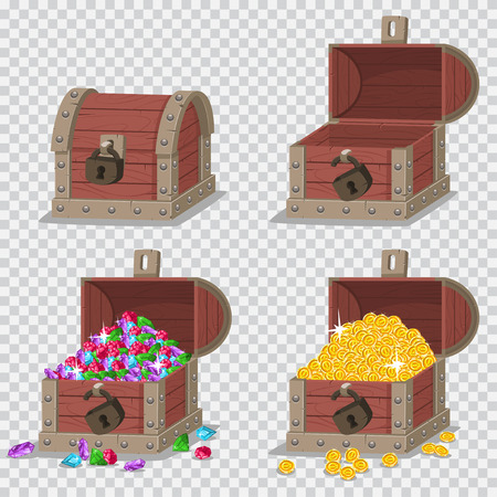 Wooden pirate chest with treasures, gold coins and gems, empty open and closed with a lock. Vector cartoon set of game icons isolated on transparent background.