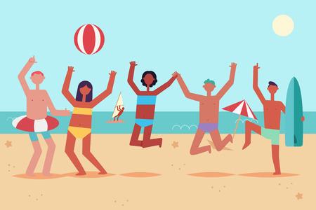 Fiesta de verano en la playa con jóvenes bailando y saltando en trajes de baño con anillo inflable, pelota y tabla de surf. Ilustración plana de dibujos animados de vector de unas vacaciones en el mar de hombres y mujeres. Ilustración de vector