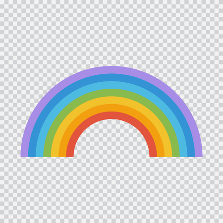 Rainbow vector flat icon isolated on transparent background.