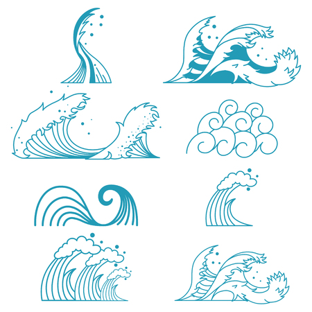 Ocean storm waves vector set of line flat icons isolated on white background.