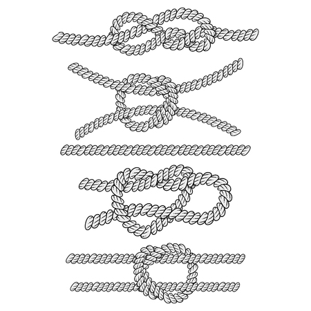 Nautical ropes vector icons set. Collection of marine knots and cords isolated on a white background.