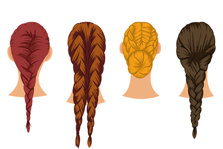 Braids hair vector cartoon set of female hairstyles isolated on white background.