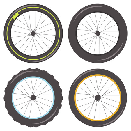 Bicycle wheel with spokes of different types: sporty, fat, studded and classic tire. Vector set of icons isolated on white background.