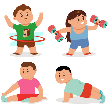 Kids doing fitness exercises. Cute cartoon girl and boy vector character set isolated on a white background. Healthy lifestyle and sport illustration.