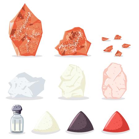Himalaya-Rosa und Steinsalz, Zucker, Pfeffer und andere Gewürze. Vektorsymbolsatz der rohen Mineralien für das Kochen lokalisiert auf weißem Hintergrund.