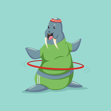 Cute Walrus cartoon character doing exercises with hula hoop. Fitness and healthy lifestyle. Vector illustration of fat funny animal isolated on background. Vettoriali